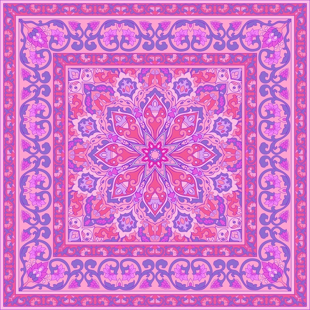 Pink pattern with ornamental flowers. Premium Vector