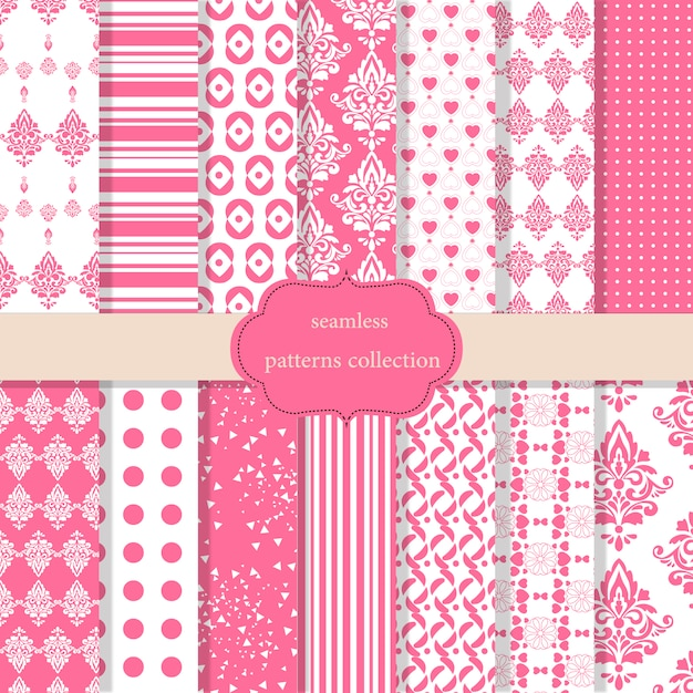Pink Patterns Collection Vector Free Download Beauteous Pink Patterns