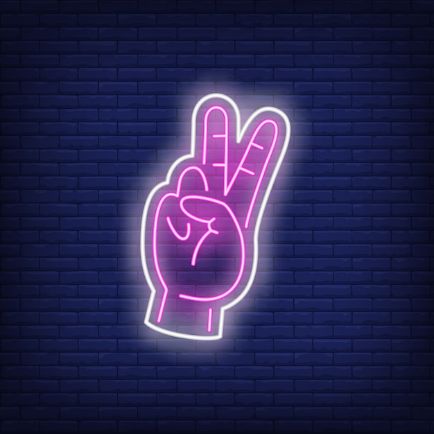Pink peace gesture neon sign Free Vector