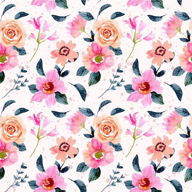 Pink peach flower garden watercolor seamless pattern Premium Vector