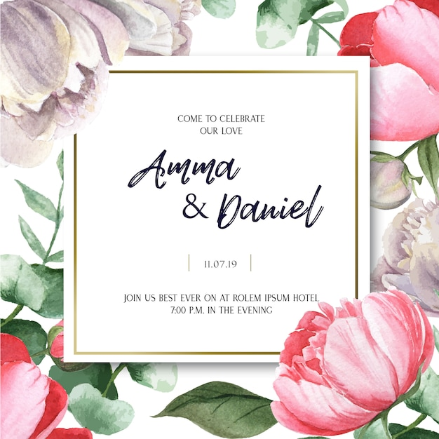 Pink peony blooming flower botanical watercolor wedding cards floral aquarelle Free Vector