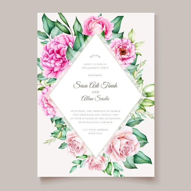분홍색 모란 피는 꽃 수채화 웨딩 카드 템플릿 무료 벡터