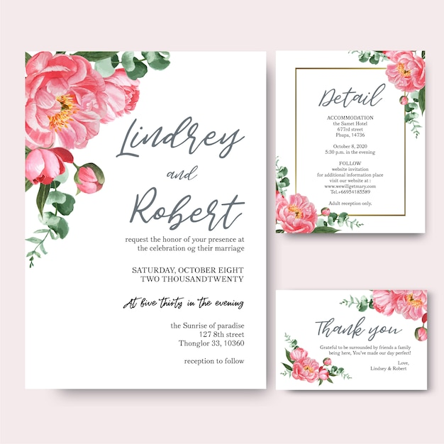 Pink peony  flowers watercolor bouquets invitation card, save the date Free Vector