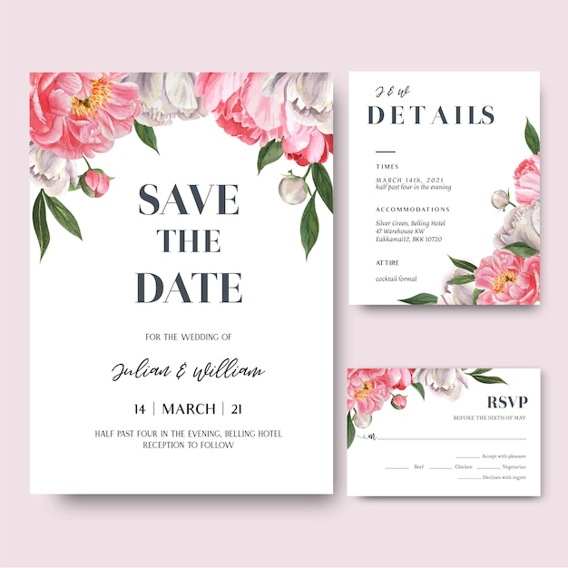 pink peony flowers watercolor bouquets invitation card