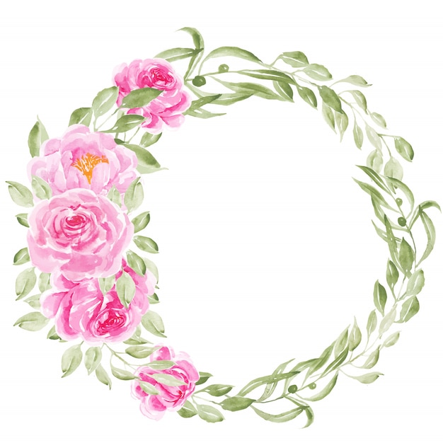 Pink peony watercolor flowers wreath Premium Vector