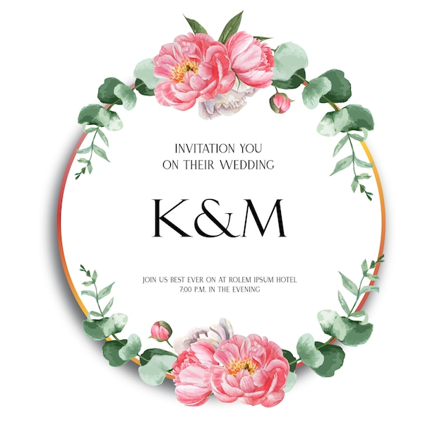 Pink peony wreaths watercolor flowers with text Free Vector