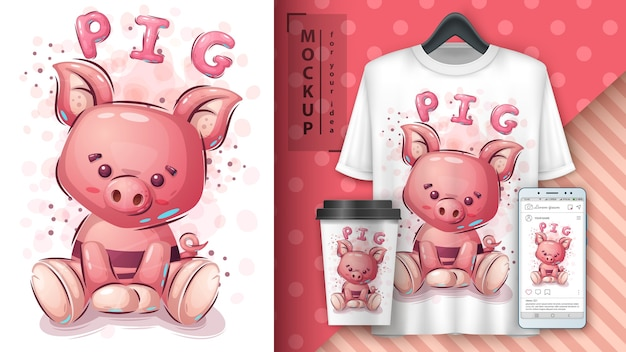 Pink pig poster and merchandising Free Vector