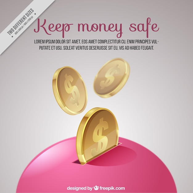 Pink piggy bank background  Free Vector