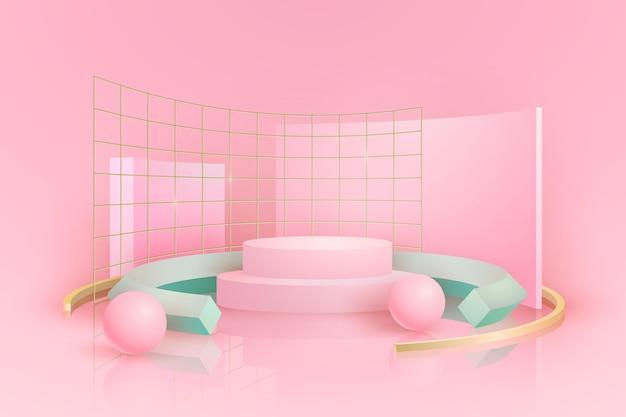 Podio rosa con griglie metalliche effetto 3d Vettore gratuito
