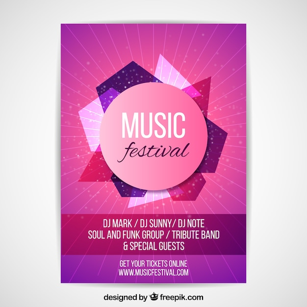Pink poster concept for music party Free Vector
