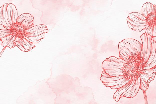 ピンクパウダーパステル手描きの背景 無料ベクター