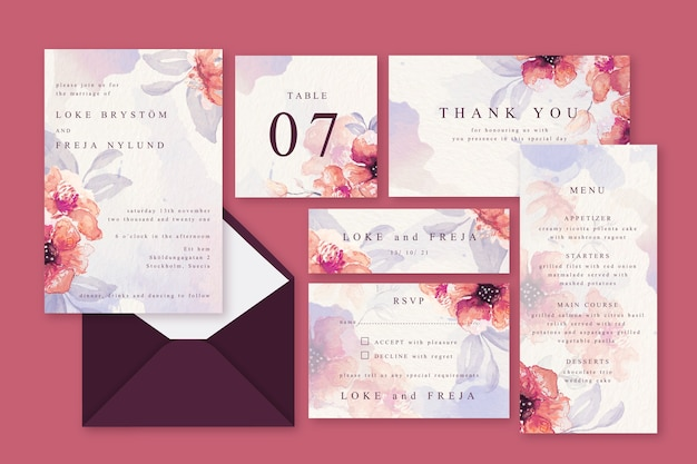 Pink powder pastel wedding stationery Free Vector