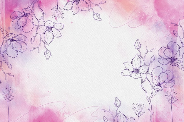 Pink powder pastel with hand drawn elements Free Vector