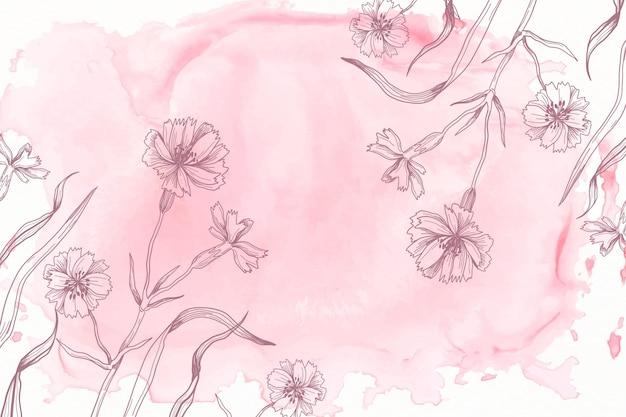 Pastello rosa in polvere con sfondo di fiori disegnati a mano Vettore gratuito