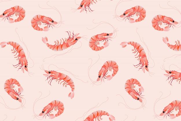 ピンクのエビ柄。シームレスな手描きのベクトルパターンデザイン。 Premiumベクター