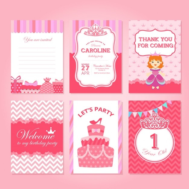 Pink Princess Birthday Cards Vector