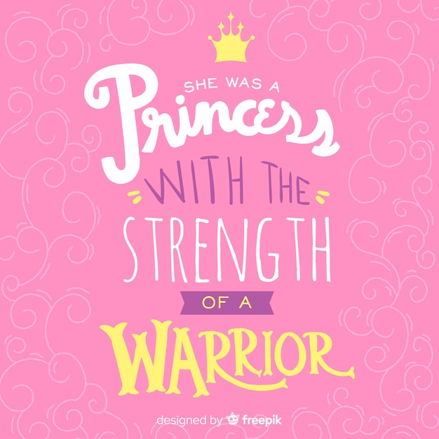 Pink princess lettering quote background Free Vector