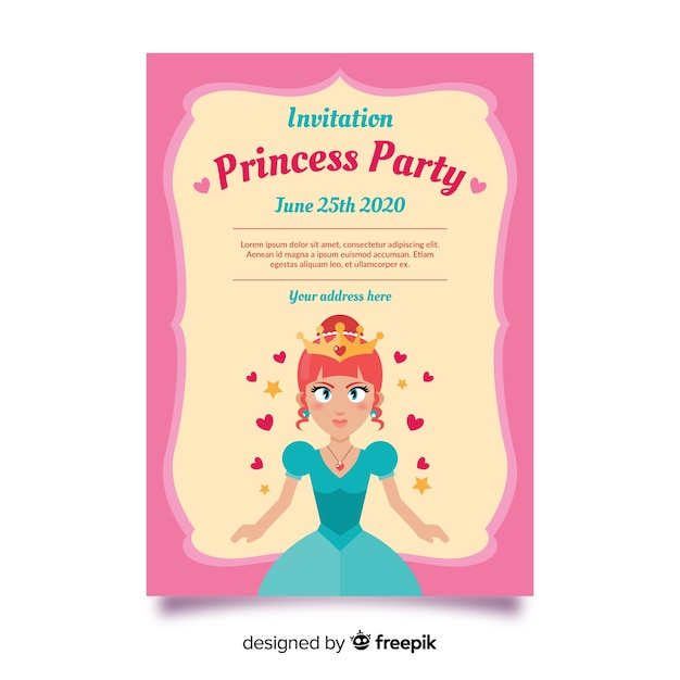 Pink princess party invitation template Free Vector