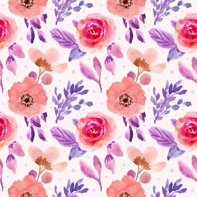 Pink purple floral watercolor seamless pattern Premium Vector