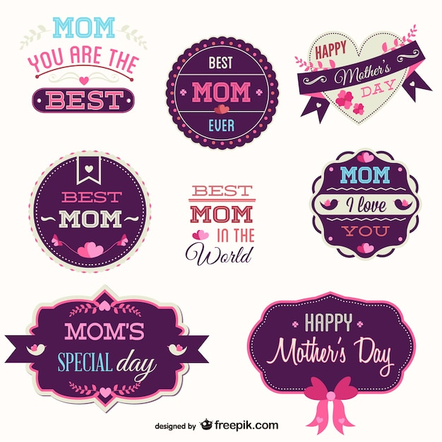Pink and purple mother's day badges set Free Vector