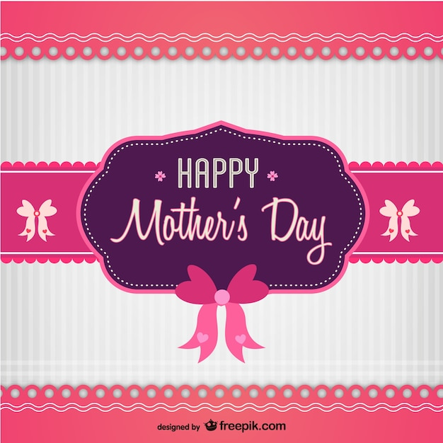 Pink and purple mother's day card with bows Free Vector