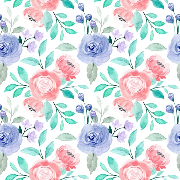 Pink purple roses floral watercolor seamless pattern with green leaves Premium Vector