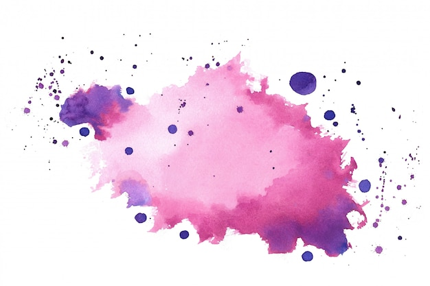 Pink purple shade watercolor splatter splash texture Free Vector