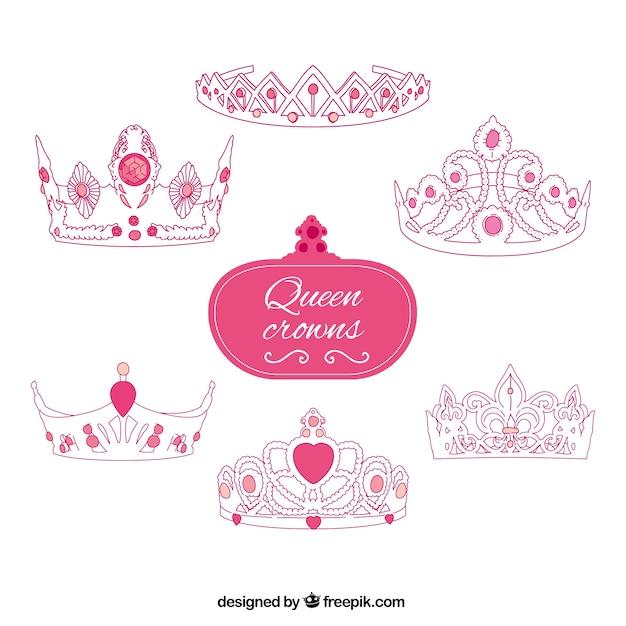 pink queen crowns vector premium download