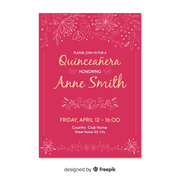 Pink quinceañera  party invitation Free Vector