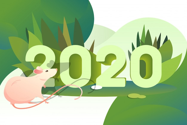 Pink rat and 2020 numbers Free Vector