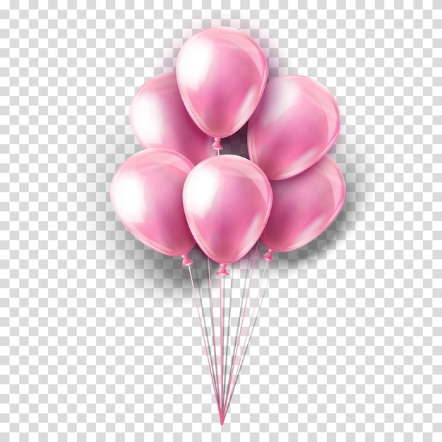 Pink realistic collection of balloons on transparent. party decoration for festival, birthday, anniversary, baby girl shower or celebration. Premium Vector