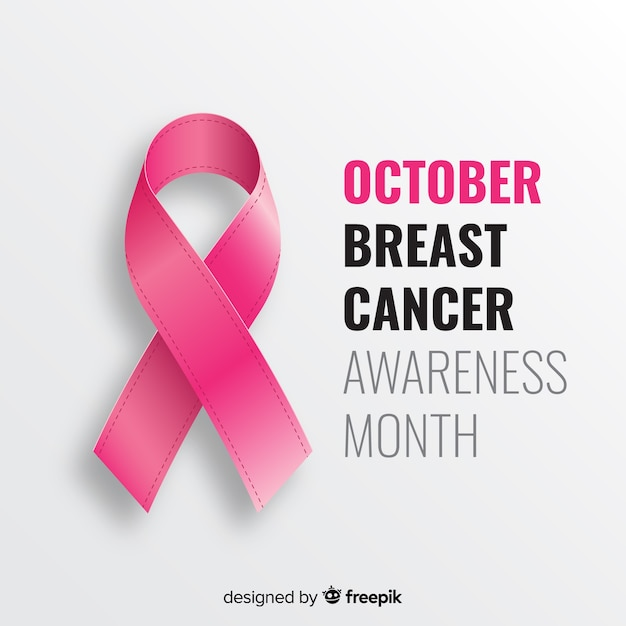 Pink realistic ribbon for breast cancer awareness event Free Vector
