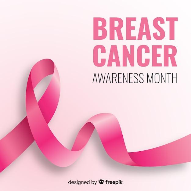 Nastro rosa realistico per la consapevolezza del cancro al seno Vettore gratuito