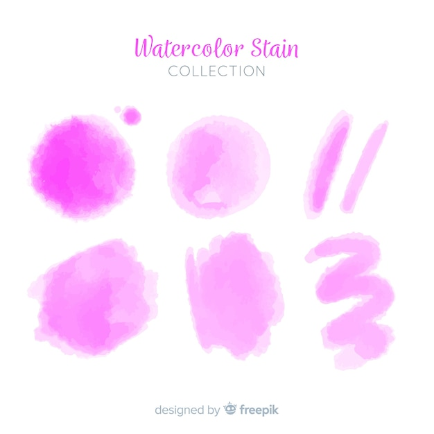 Pink realistic watercolor stain collection Free Vector