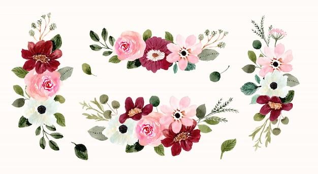 Розовый красный цветочная композиция букет акварель коллекция Premium векторы