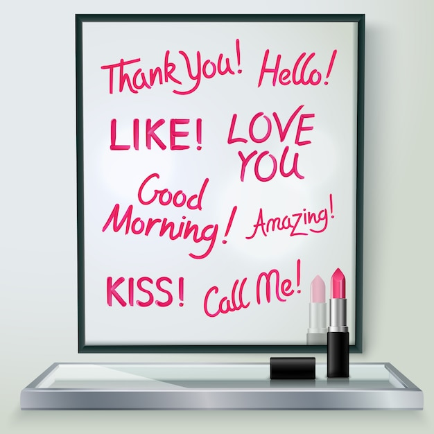 Pink red glossy lipstick words of love and affection in black frame Free Vector
