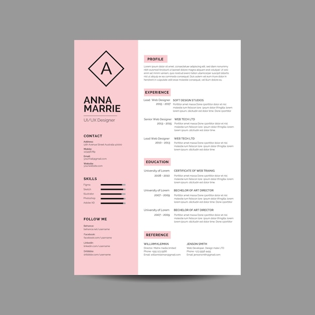 Pink resume template Premium Vector