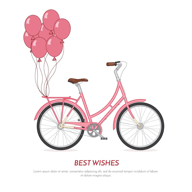 Pink retro bicycle withballoons attached to the trunk. vintage color bike on white background Premium Vector