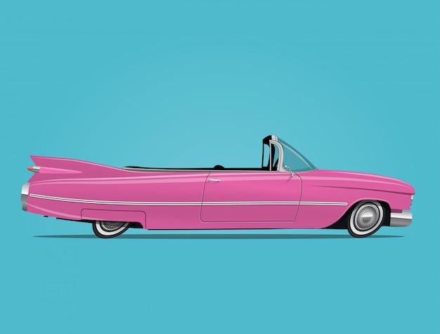 Pink retro car cabriolet illustration Premium Vector