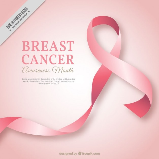 Pink ribbon background of breast cancer Free Vector