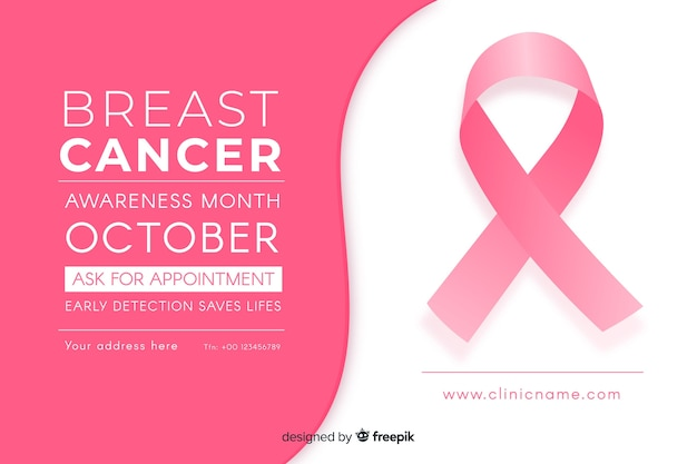 Pink ribbon flat design and text space Free Vector