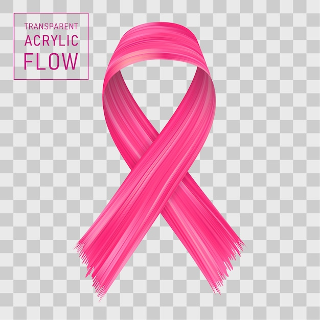 Pink ribbon flow. sign fight with cancer. Premium Vector
