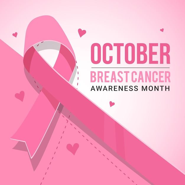 Иллюстрация розовой ленты к месяцу осведомленности о раке груди Premium векторы