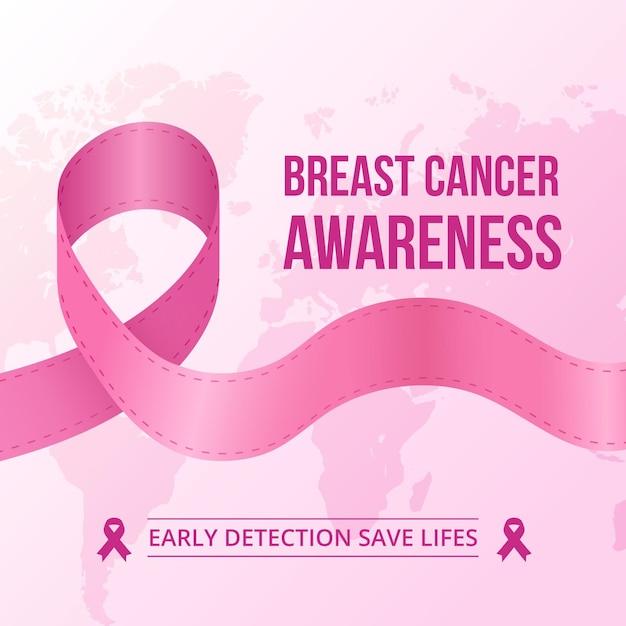 Розовая лента для месяца осведомленности о раке груди Premium векторы