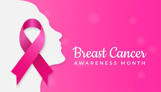 Pink ribbon symbol on woman face silhouette Premium Vector