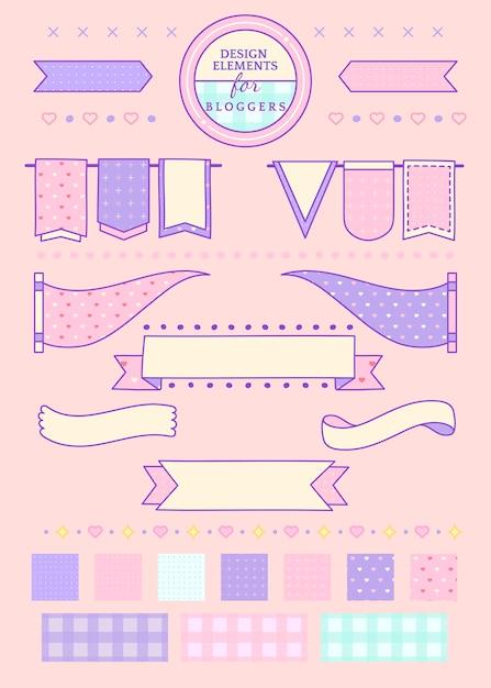 Pink ribbons and badges Free Vector