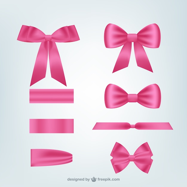 Pink ribbons pack Free Vector