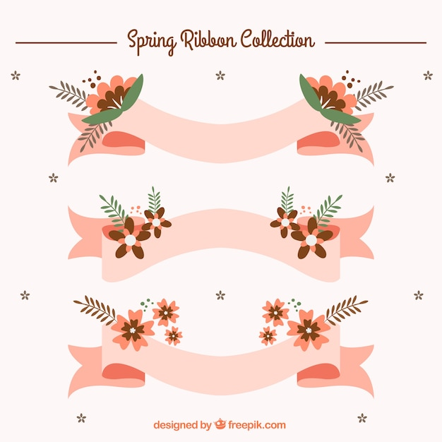 Pink ribbons with spring flowers in flat\ design