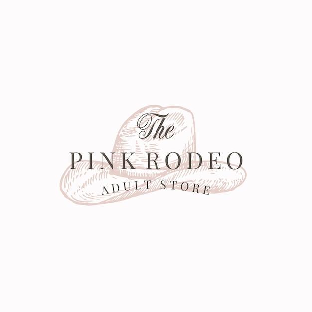 Магазин для взрослых pink rodeo. абстрактный знак, символ или шаблон логотипа. Бесплатные векторы