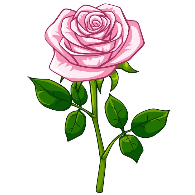 Pink rose cartoon style Vector   Premium Download